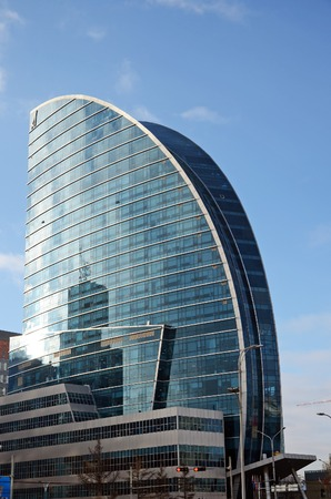 central square: New modern sail-form building on central square of Ulaanbaatar, Mongolia