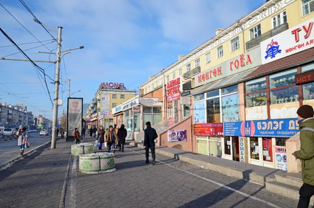 independent mongolia: Ulaanbaatar, Mongolia - Dec, 03 2015: Central street in the city of Ulaanbaatar in winter. Mongolia Editorial