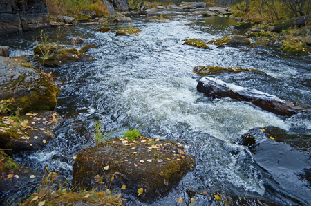 seething: Little seething mountain river with moss stones in autumn