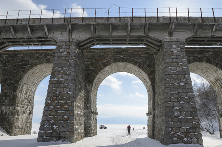viaducts: One of the viaducts of Circum-Baikal Railway in winter. Irkutsk Region, Russia, Lake Baikal