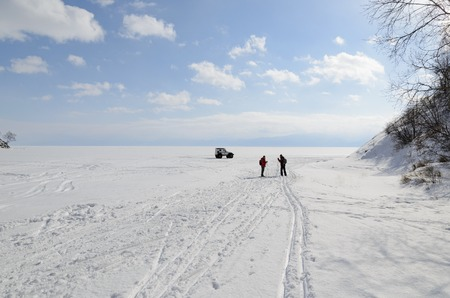 ski runs: Ski transition through Baikal in winter. Siberia, Russia
