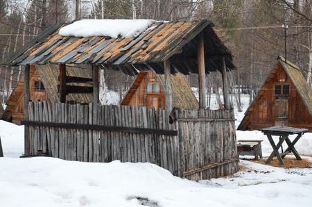 dwelling: Former tourist camp in countryside with a wooden dwelling. kochergat village, Irkutsk Region, Russia Stock Photo
