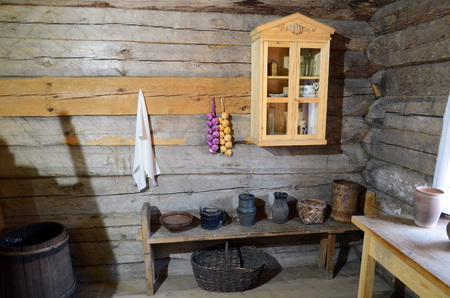 corner tub: Irkutsk region, Russia - May,10 2015: Interior of the Russian peasant hut in Taltsy exhibition Editorial