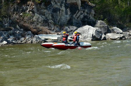 buryatia: Rafting team float down the Irkut river. Buryatia, Sayan foothills Editorial