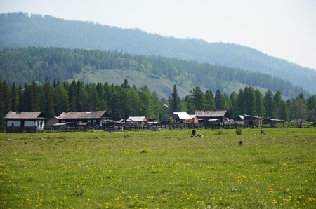 foothill: Small Buryat village in the foothill of East Sayan Mountains. Tunkinskaya valley