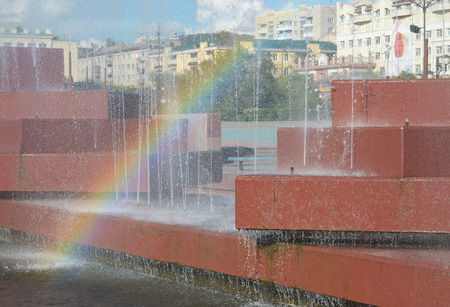 Chita, RU - Jul17 2014: City fountain in the central square of Chita, Transbaikalia edge, Russia Editorial