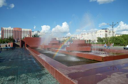 Chita, RU - Jul17 2014: City fountain in the central square of Chita, Transbaikalia edge, Russia Editorial