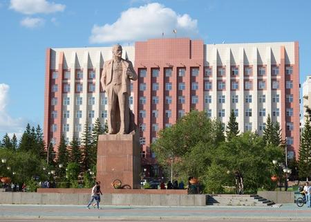 Chita, RU - Jul17 2014: Lenin monument on the central square in Chita, Transbaikalia edge, Russia