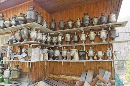 genuine good: A large number of antique samovars on the shelves