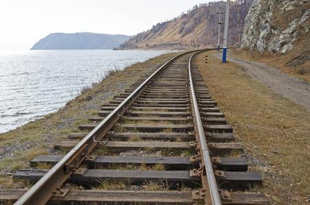 railtrack: Section of Circum-Baikal Railway. Rail-track running along the shore of Lake Baikal Stock Photo