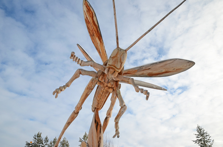 Irkutsk Region,Ru-Jan, 03 2015: Grasshopper on background of sky. Park of wooden sculptures in Savvateevka