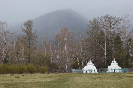 Arshan,Ru-May, 02 2014: Buddhist stupa - an architectural construction that symbolizes the nature of the mind, Enlightenment. Temple monastery in Arshan village. Buryatia