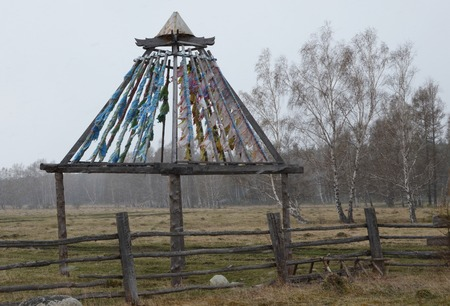spiritual architecture: Buddhist construction with Zalaal, tied tapes. Territory of temple-monastery in Arshan village. Tunkinsky district of Buryatia