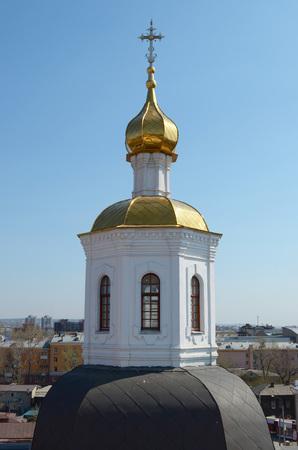 Dome Znamensky nunnery church with gilded head. Irkutsk Russia