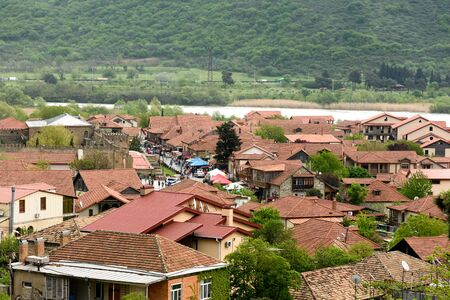 Tiled roofs top view of central part of Mtskheta - ancient capital of Georgia Stockfoto