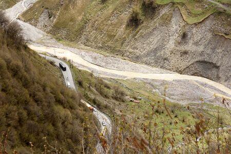 Section of Georgian Military Road and Aragvi River. Caucasian ridge, Georgia