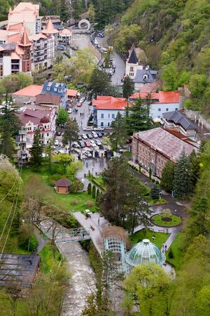 Top view of Borjomi, balneological and climatic resort in Georgia at altitude 800 meters above sea