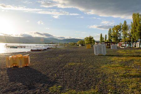 Bazaleti - healing mountain lake. Sanatorium facilities by lake. Off season. Georgia