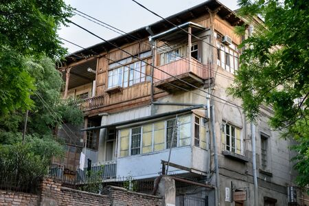 Traditional wooden balconies of residential building in center of Tbilisi, Georgia
