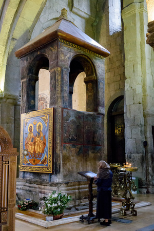 Tbilisi,GE-May,6 2019: Interior Svetitskhoveli Cathedral Patriarchal Church in Mtskheta ancient capital. Small building inside burial place Sidonia and burial place robes Christ