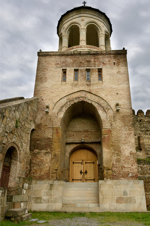 Tbilisi, Georgia-May,6 2019: Back side entrance Svetitskhoveli Cathedral, Living Pillar, in Mtskheta ancient capital Georgia