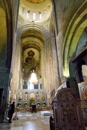 Tbilisi, Georgia-May,6 2019: Interior Svetitskhoveli Cathedral, Living Pillar in Mtskheta - ancient capital of Georgia