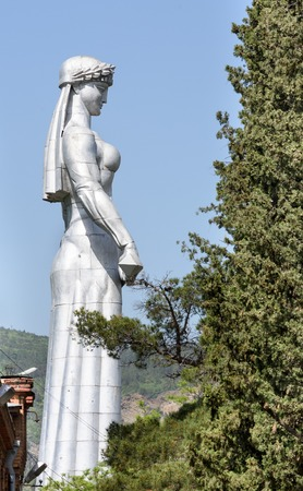 Tbilisi, Georgia-May, 08 2019: Symbol of Tbilisi - monument Mother Kartli on sunny day. Height of statue is 20 meters