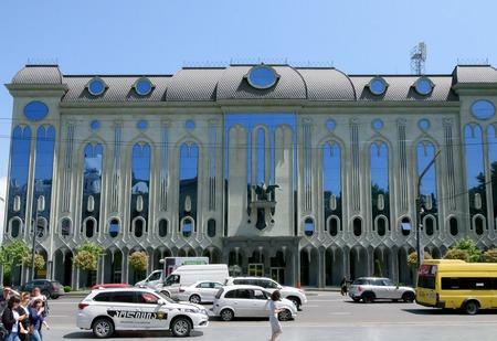 Tbilisi, Georgia-May, 08 2019: Modern building on Rustaveli Avenue in Tbilisi, Georgia 報道画像