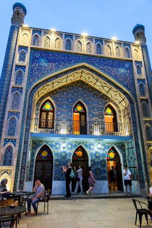Tbilisi, Georgia - May,08 2019: Beautiful facade of Orbelian bath in Tbilisi in evening illumination. Georgia