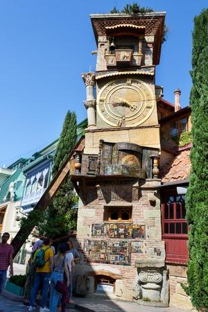 Tbilisi, Georgia - May 08 2019: Rezo Gabriadze Falling tower Marionette Theater, Georgia