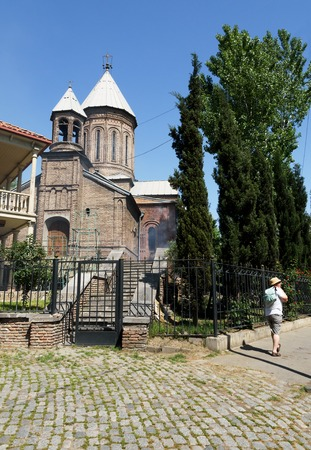 Tbilisi, Georgia - May, 08 2019: Small church in residential district in center of Tbilisi, Georgia