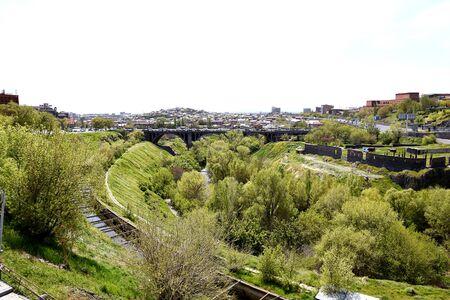 View of Hrazdan Gorge, Victory Bridge and Yerevan, Armenia