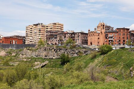 New residential complex on place of old quarter Dzoraghuh above the Hrazdan Gorge in Yerevan, Armenia