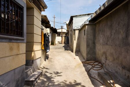 Street of poor residential district in center of Yerevan, Armenia 写真素材
