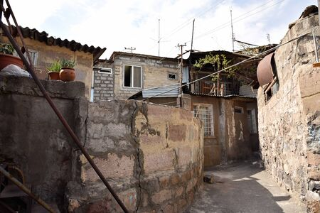 Little courtyard in poor residential district in center of Yerevan, Armenia