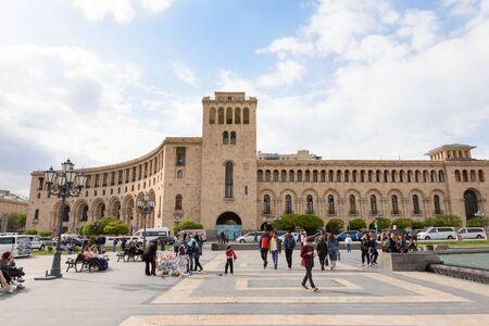Yerevan, Armenia-April 28 2019: Republic Square central square of Yerevan. Armenia
