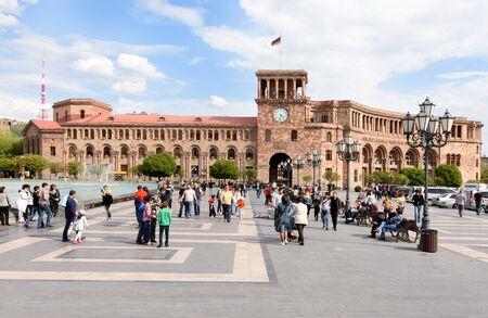 Yerevan, Armenia-April 28 2019: residence of Prime Minister of Armenia and Ministry of Finance on Republic Square in Yerevan. Armenia 写真素材 - 135957221