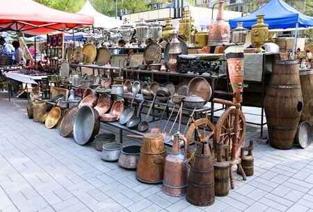Yerevan, Armenia-April, 28 2019: Antique Utensils at Vernissage flea market in center of Yerevan, Armenia