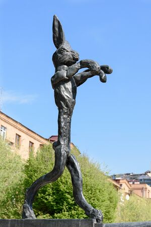Yerevan, Armenia-April, 29 2019: boxing bronze hare in alley at foot of Cascade in center of Yerevan, British sculptor Barry Flanagan