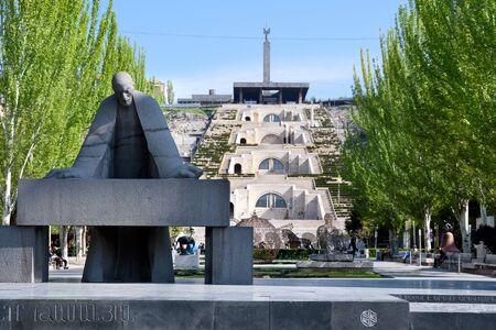 Yerevan, Armenia-April, 29 2019: Monument to famous Armenian architect Alexander Tamanyan and view of Cascade in Yerevan, Armenia