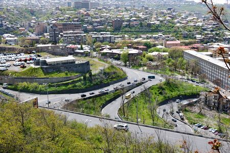 Top view of Yerevan district from Cascade, Armenia 写真素材 - 137134906