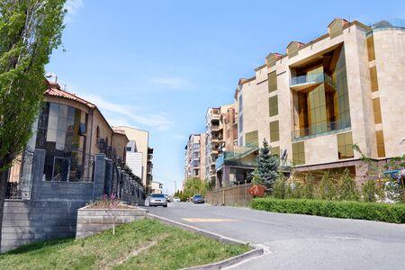 Street with residential buildings in elite district of Yerevan, Armenia