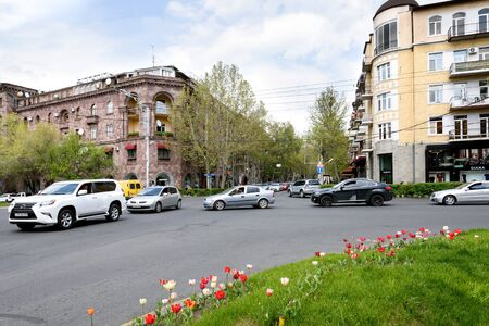 Crossroads and a street with residential buildings in the center of Yerevan, Armenia 写真素材 - 137184962