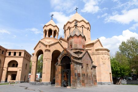 Yerevan, Armenia-April, 29 2019: Church of St. Anne - Temple of Armenian Apostolic Church and medieval Church of Holy Mother of God Katogike 写真素材