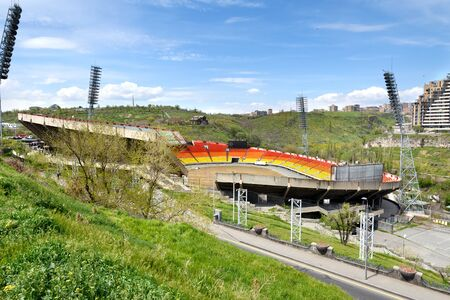 Hrazdan Stadium in Yerevan. The largest and only two-tier stadium in Armenia. Currently not functioning 写真素材 - 138049720