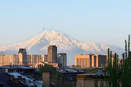 Snowbound Mount Ararat in early spring morning, view from Yerevan, Armenia