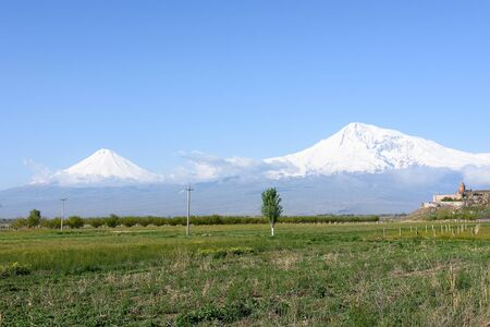 Big Ararat and Small Ararat - the highest volcanic massif of Armenian Highlands in eastern Turkey. View from Armenia