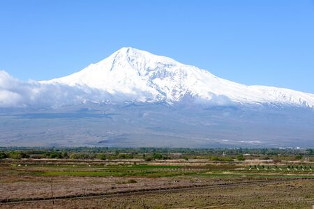 Ararat - mountain to which Noahs ark moored after Global Flood. View from Khor Virap Monastery