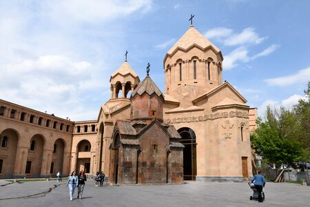 Yerevan, Armenia-April, 29 2019: Church of St. Anne - Temple of Armenian Apostolic Church and medieval Church of Holy Mother of God Katogike 報道画像