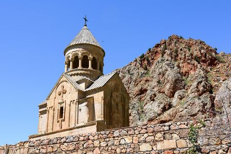 Church of Holy Virgin, Surb Astvatsatsin, in Noravank monastery complex, highly artistic monument of tower-type funerary structures, Armenia